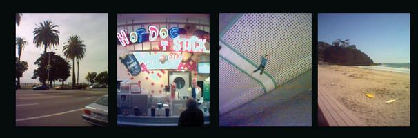 (l-r: overcast Santa Monica, Hot Dog On A Stick, unsettling art in LA transit station, Laguna cove